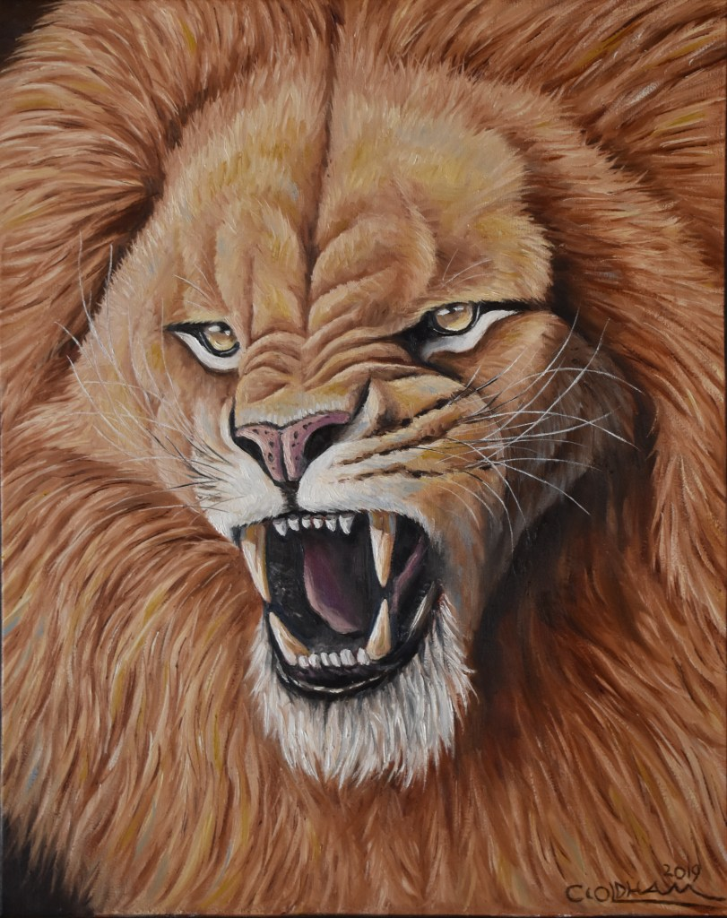 oil painting of African lion