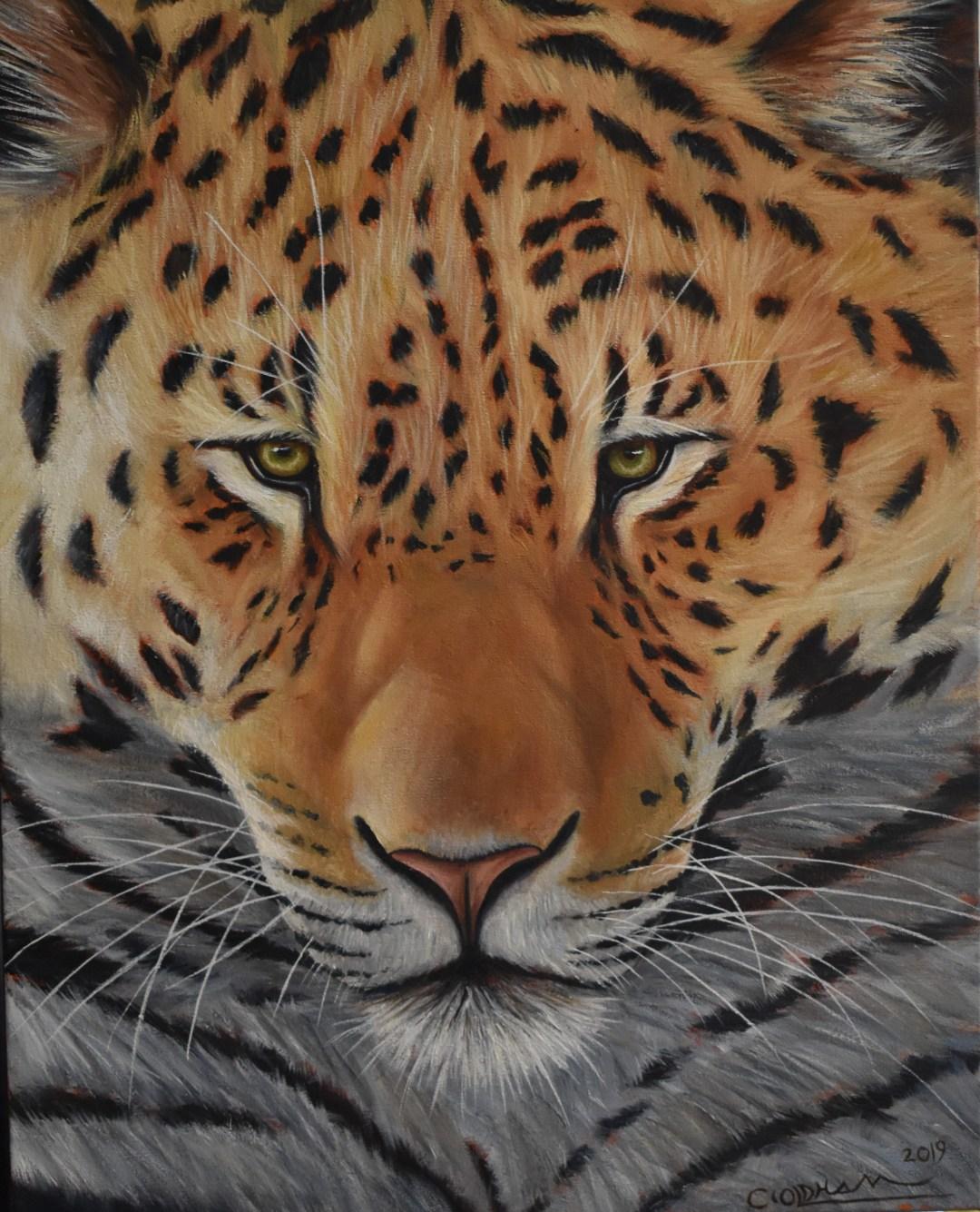 Oil painting of jaguar portrait by Cody Oldham