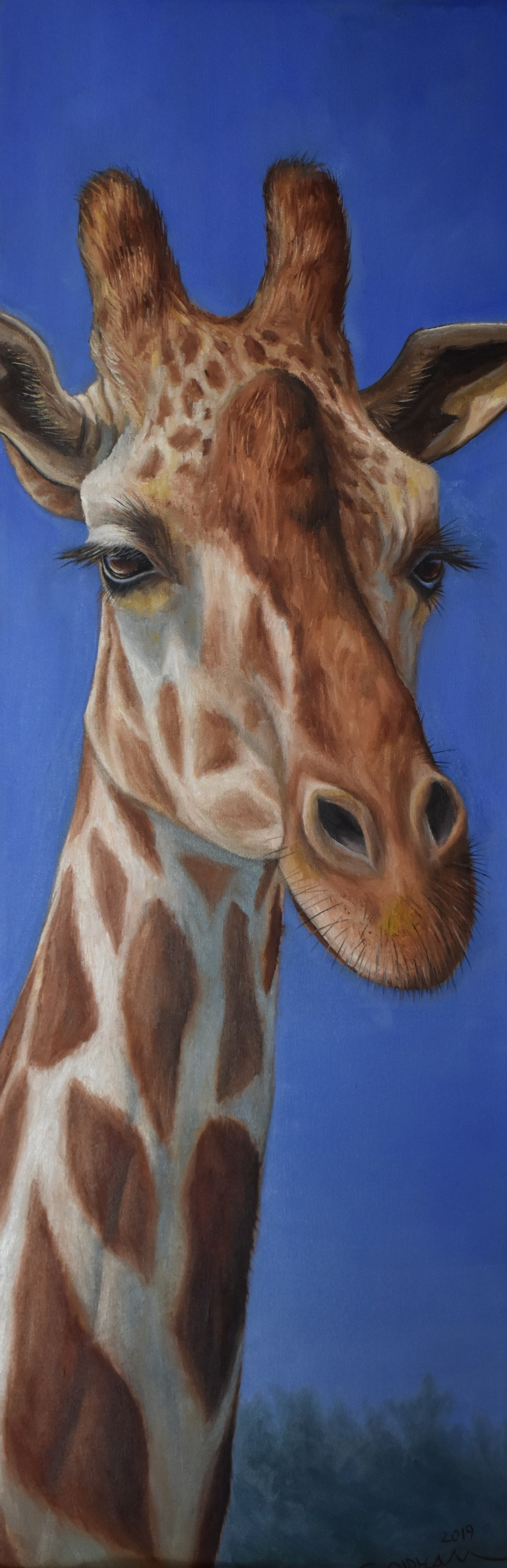 Oil painting of giraffe portrait by Cody Oldham