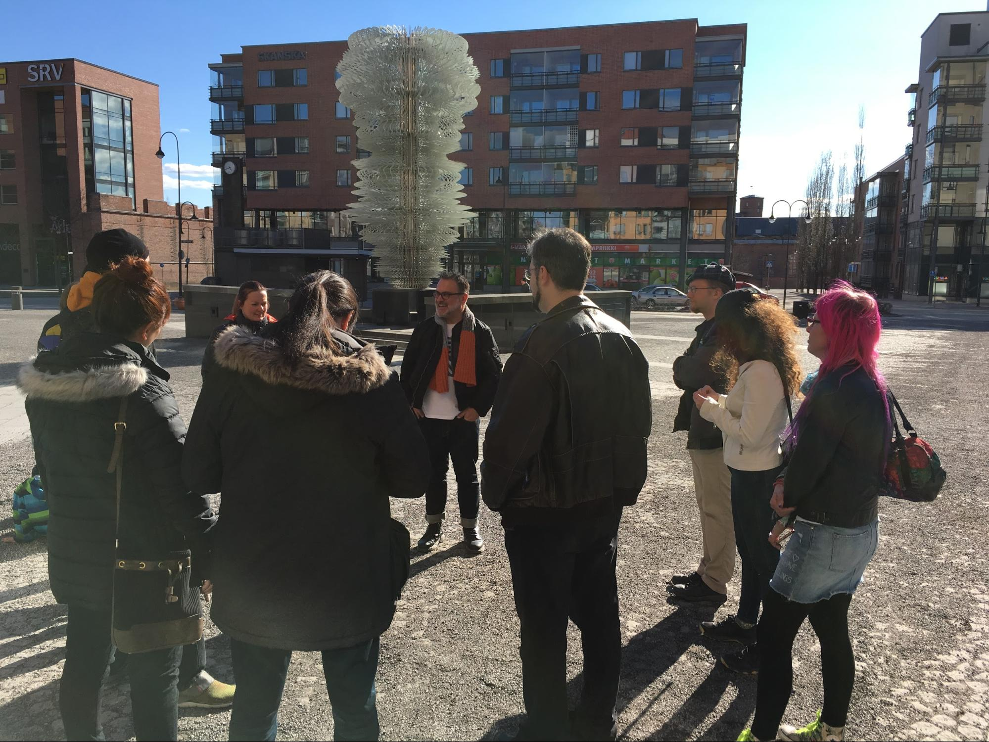 Troy Innocent takes Tampere residents on a walking tour