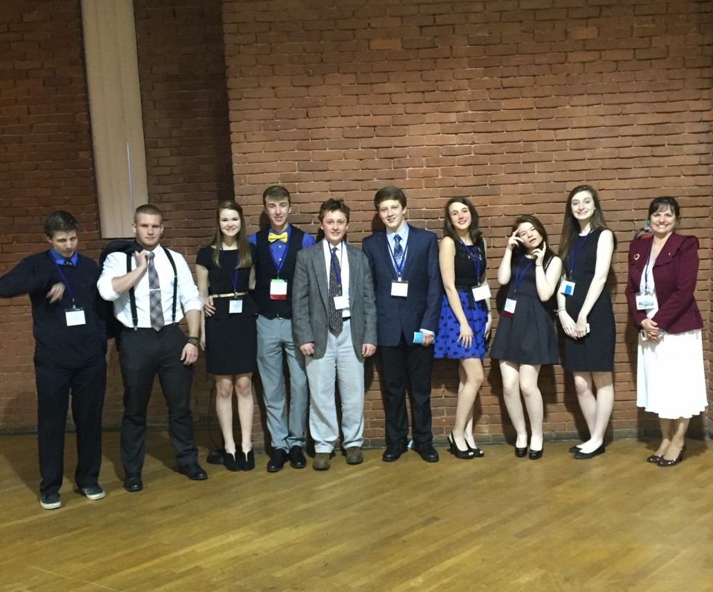 CBNA FBLA Members at the State Convention: left to right Taylor Richardson, Cody Vaughn, Brittany Guillemette, Alex Yonchak, Maxim Begin, Nate Schroeder, Lauren Velleca, Meghan Percy, Nicole Beaupre, and advisor Dr. JoAnn Zylak.