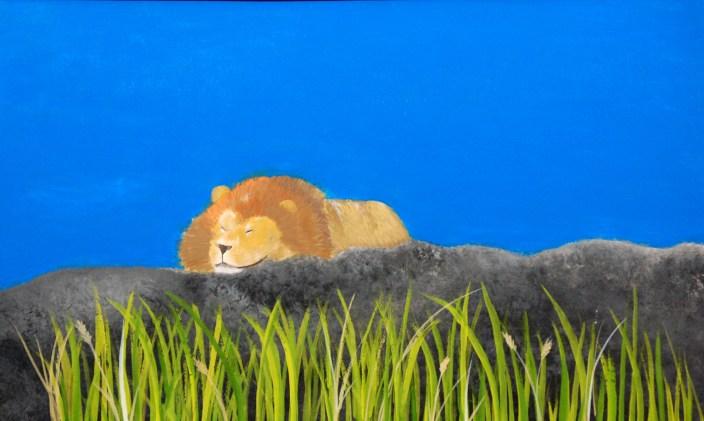 The Lion Landscape by Megan Elwel - Gouache on Illustration Board