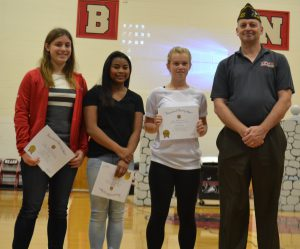 CBNA Voice of Democracy winners from left to right: third place winner Alice Ewing, second, place winner Taeva Ahern, first place winner Olivia Farrar with Mr. Daniel Barnhart of Northwood VFW.