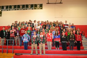 CBNA students and staff embrace their holiday ugly sweaters at the recent CBNA Ugly Sweater Event.