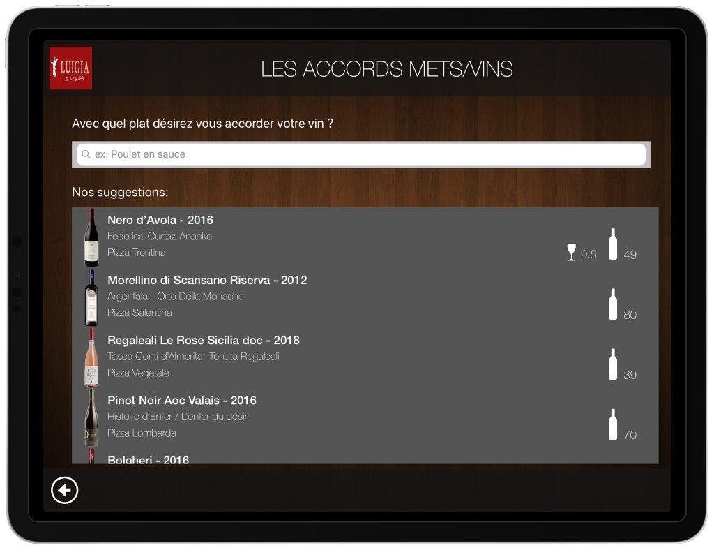 Accords mets vins carte numérique iPad