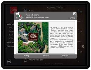 Wine domain description and photo italian restaurant iPad LUIGIA