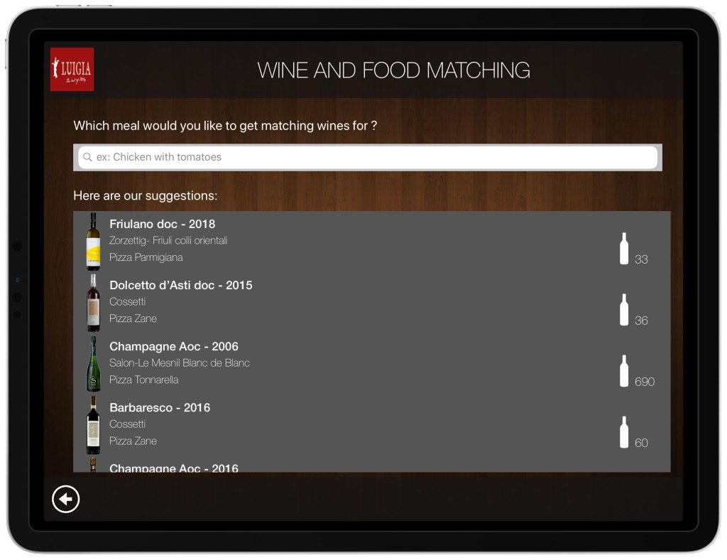 Wine and Food Pairing iPad Wine List Italian Restaurant