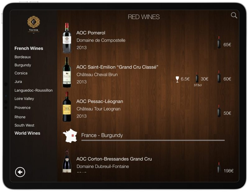 Wine List iPad
