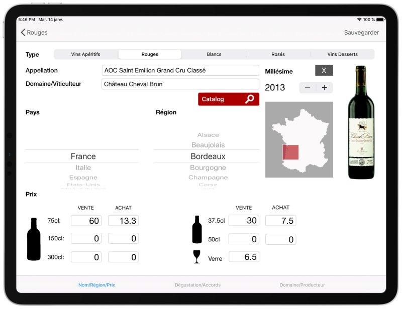 Administration carte des vins iPad