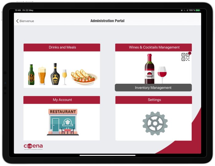 QR Code administration restaurant menus