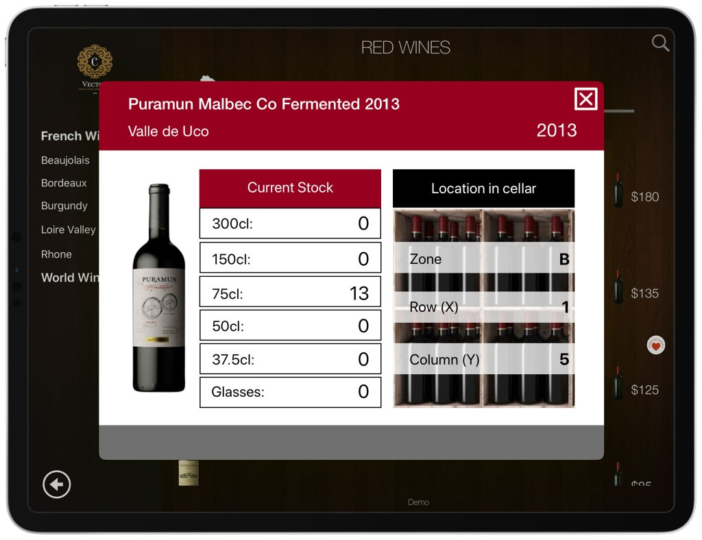 Stock and location of wine in cellar - wine list in iPad