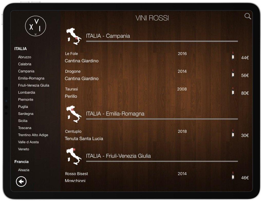 Carte vins tablette numerique italie venise