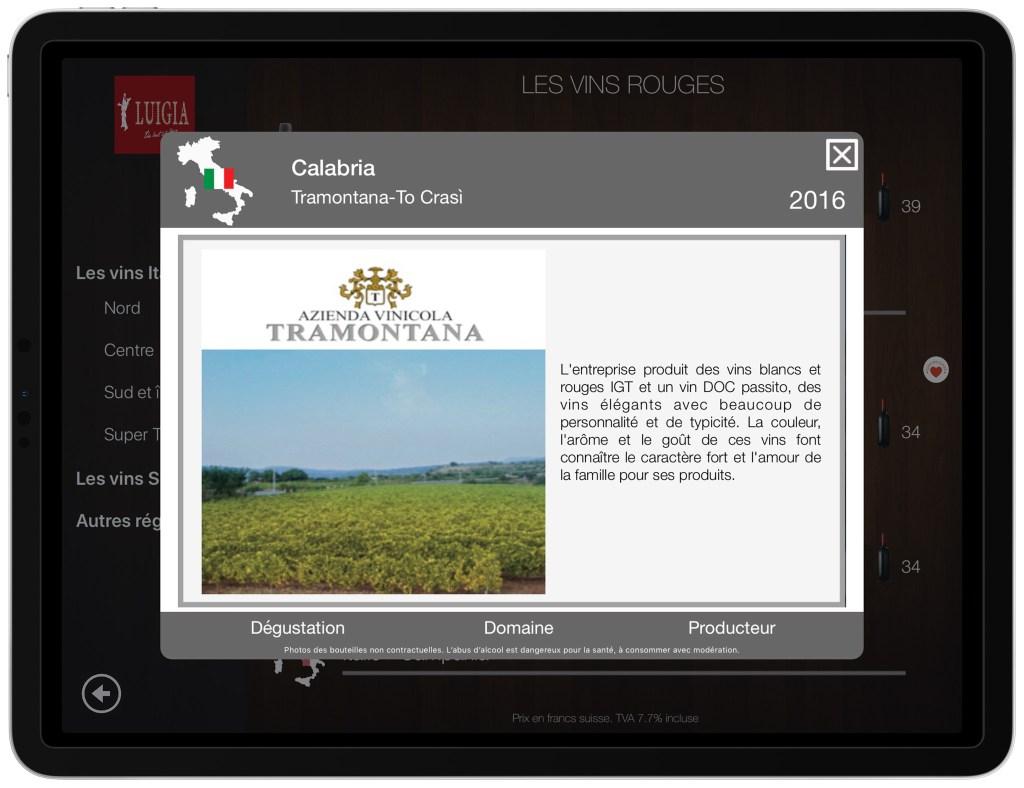 Description du domaine viticole carte des vins iPad numérique