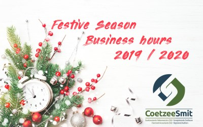 CoetzeeSmit Festive business hours 2019 / 2020