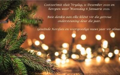Festive Season Greetings 2020 Feestyd Groete