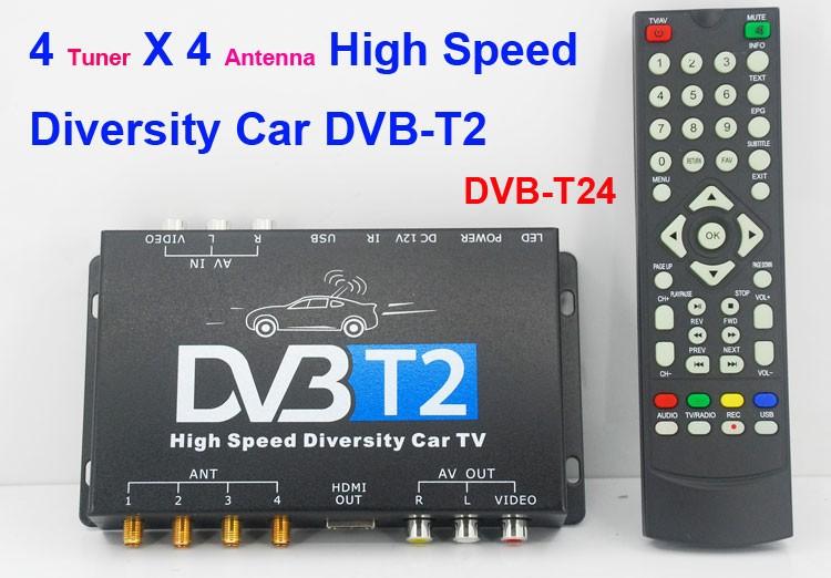 Car DVB-T2 TV Receiver 4 Tuner 4 Antenna HDTV Russia High Speed