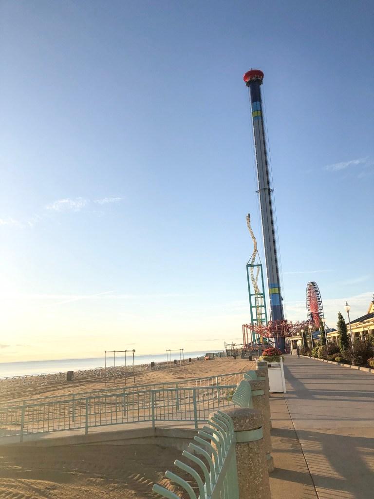 Cedar Point rides next to Lake Erie beach