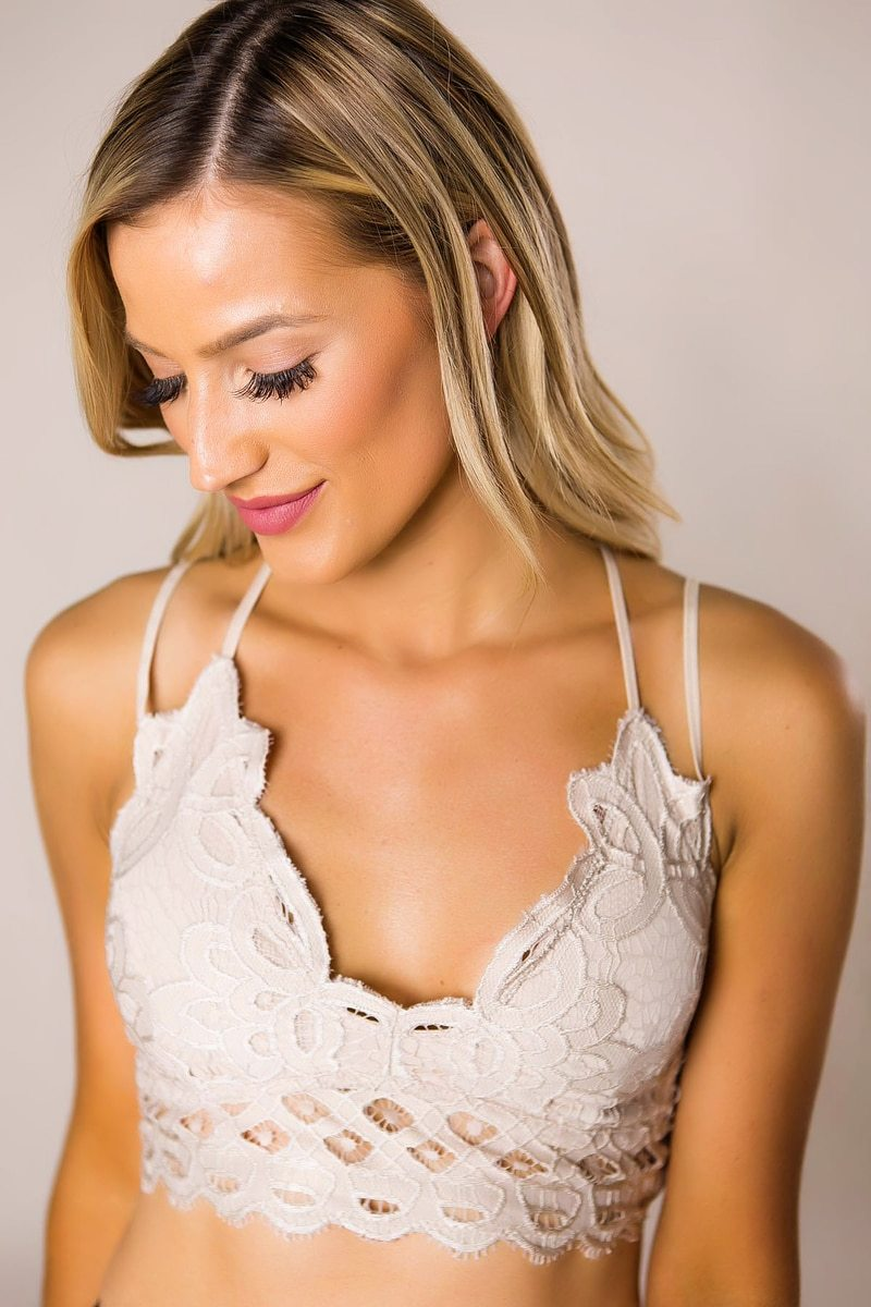 decorative tan bralette with lace trim