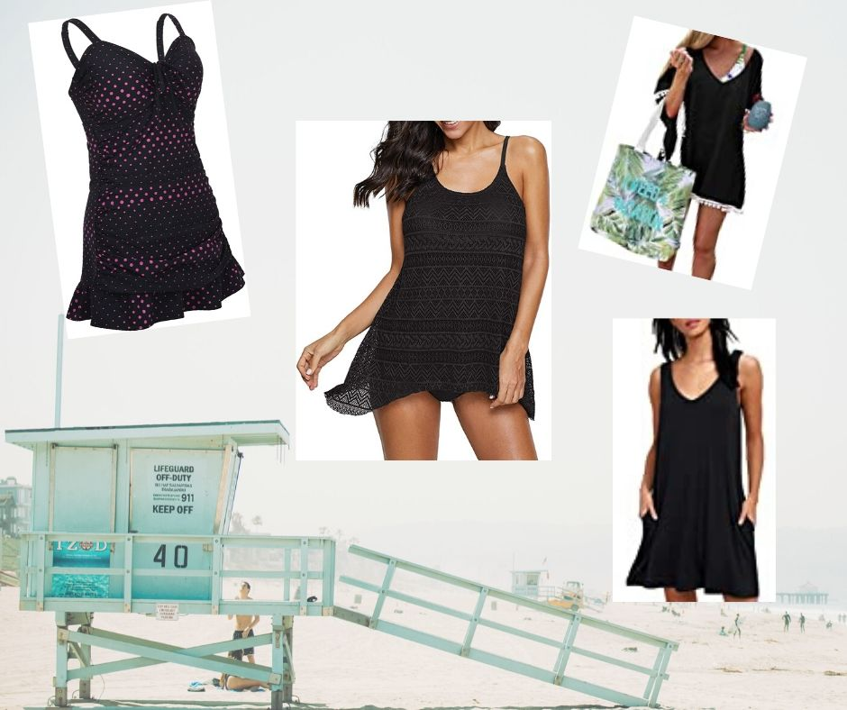lifeguard shack in the background with 2 swimsuits and 2 coverups over the top