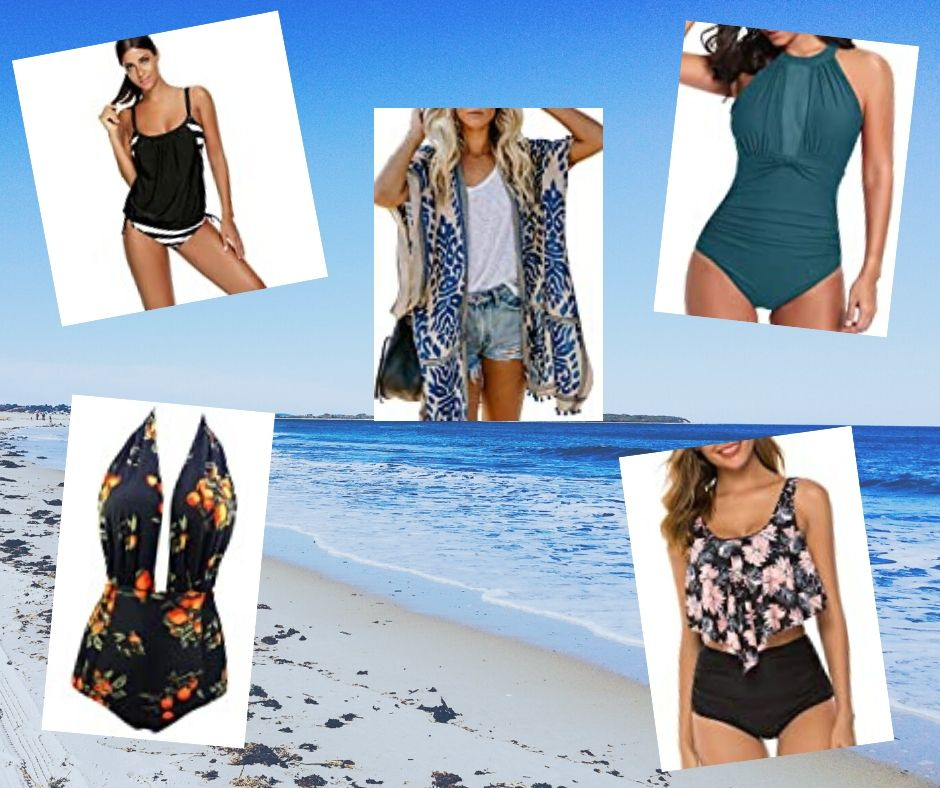 Beach background with 5 swimsuit pictures overlayed
