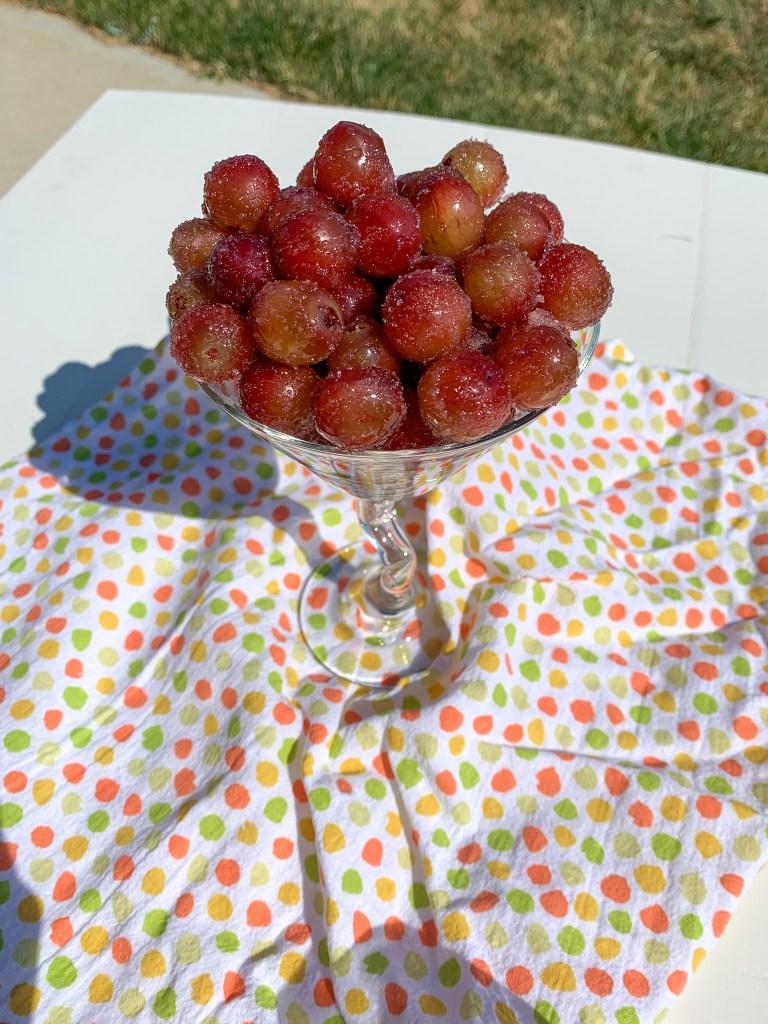 sugared grapes in martini glass