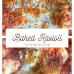 Baked ravioli in cream colored wavy dish
