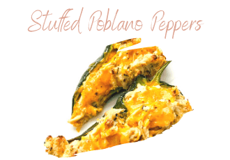 poblano peppers stuffed with chicken and cheese on plate