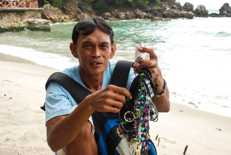 Accessory beach seller Puerto Galera, Mindoro Island, Philippines