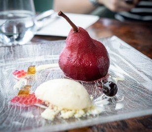 Monti—Red Wine Poached Pear