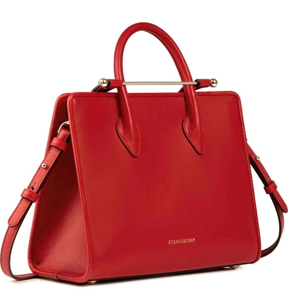 Strathberry Red Miidi Leather Tote Bag