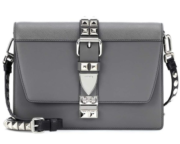Prada Grey Elektra Studded Shoulder Bag