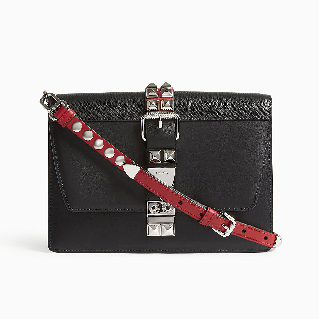 Prada Elektra Studded Black and Red Shoulder Bag