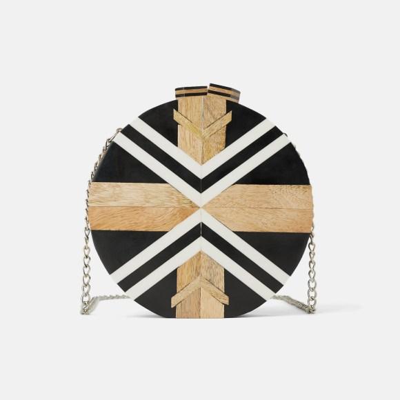 Zara Multicolor Wood Circle Crossbody Bag