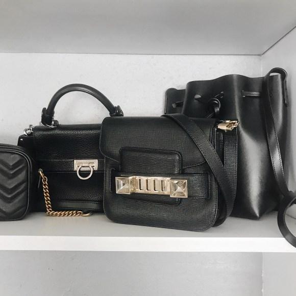 Proenza Schouler PS11, Mansur Gavriel Bucket Bag, Salvatore Ferragamo Sofia bag on shelf