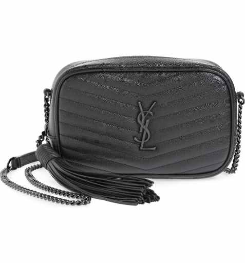 Saint Laurent Black on Black Mini Lou Quilted Leather Crossbody Bag