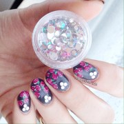rose and diamond nails featuring