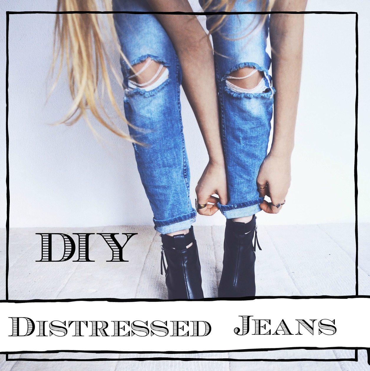 Diy Distressed Jeans Coffee And Poise