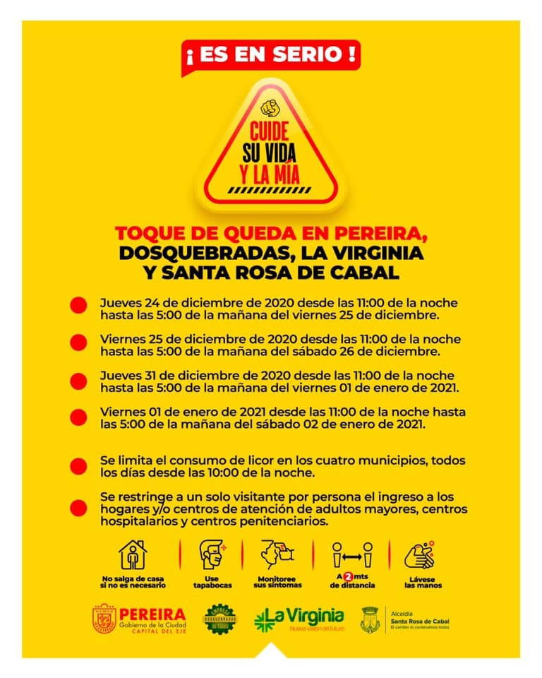 Restrictions for Pereira de Colombia December 2020