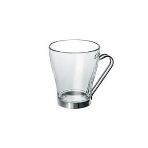 """6 ספלי קפה זכוכית עם ידית נירוסטה 240 מ""""ל"""