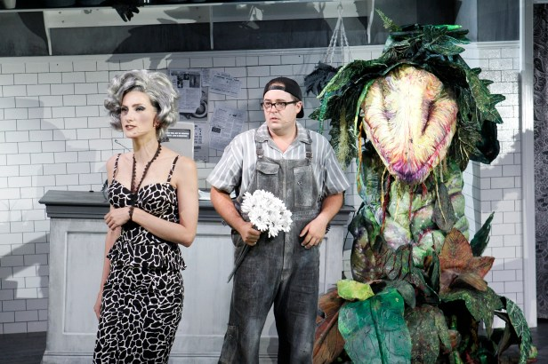 Esther Hannaford, Brent Hill, Audrey II LITTLE SHOP OF HORRORS - PHOTO CREDIT JEFF BUSBY