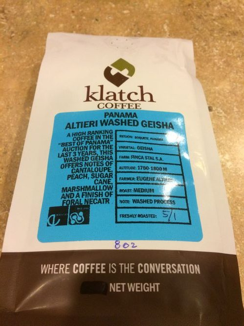 Review: Klatch Coffee Panama Altieri Washed Geisha (Rancho Cucamonga, California)