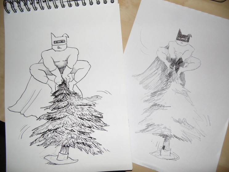 The Battree 2.0 in ink and pencil right next to each other