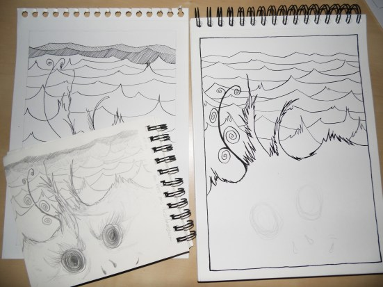 The sea of fuzzy monsters as a pencil sketch (bottom left), a first attempt at inking with the wrong nib (top left), and the second attempt at inking with the right nib (right) as work in progress