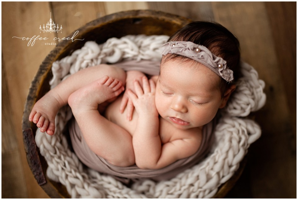 Indianapolis newborn photographer baby girl in bowl