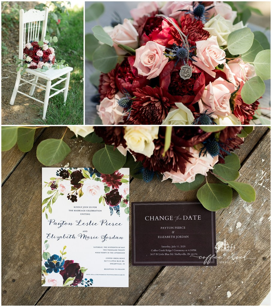 bouquet and wedding invitations