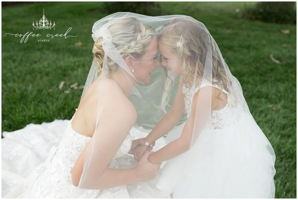 bride and flower girl under veil