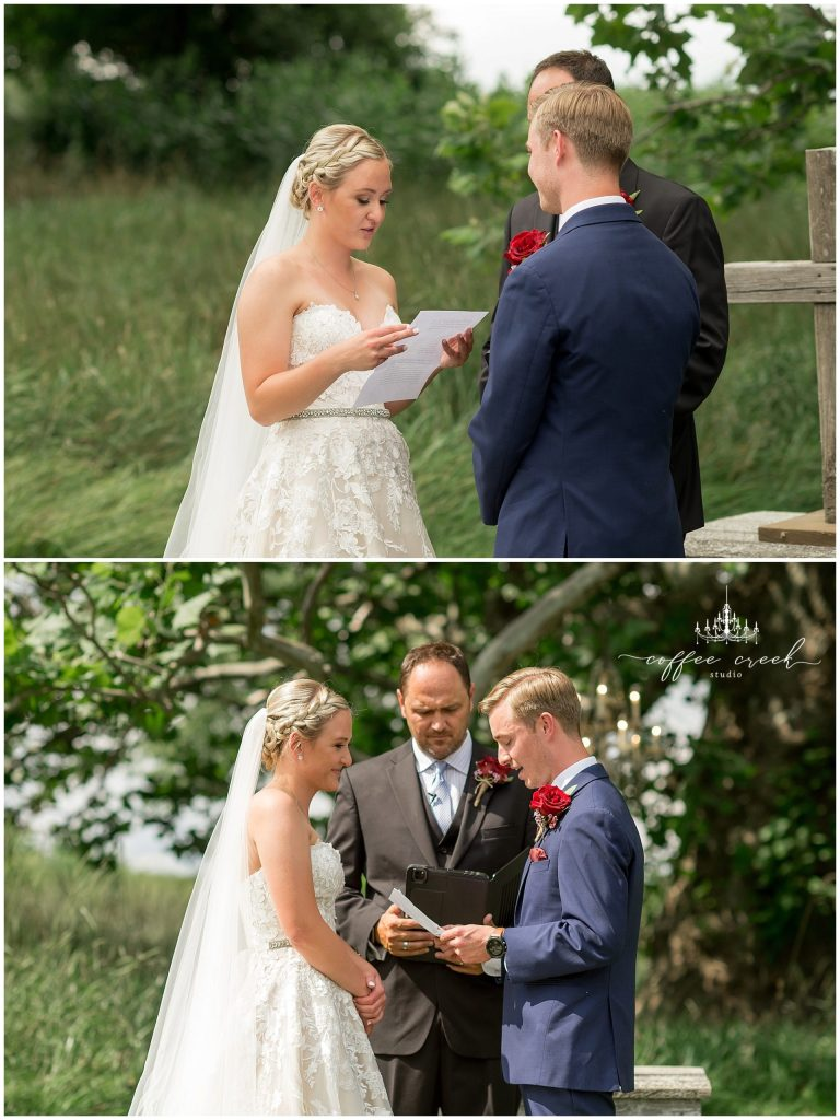 exchanging of vows at barn venue wedding
