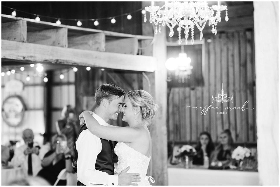 first dance at barn venue wedding