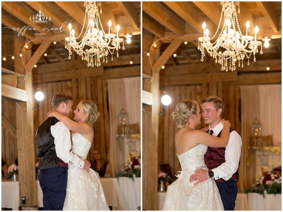 bride and groom dance at barn venue wedding