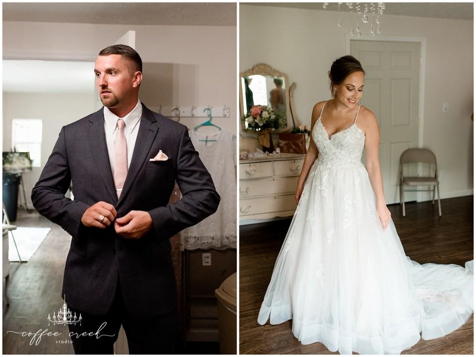 bride and groom getting dressed